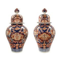 Pair of Japanese 19th Century Imari Lidded Urns