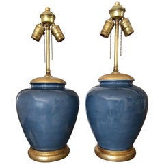 Pair of Japanese Asian Blue Porcelain Table Lamps