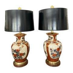 Pair of Japanese Asian Imari Porcelain Table Lamps