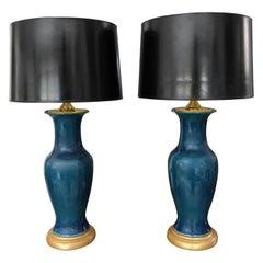 Pair of Japanese Asian Teil Blue Porcelain Table Lamps
