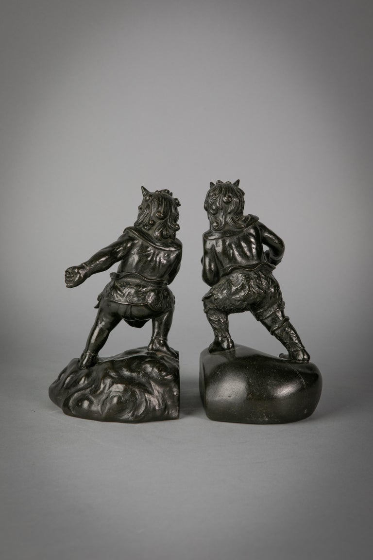 Pair of Japanese bronze bookends, circa 1880.