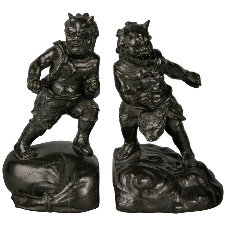 Pair of Japanese Bronze Bookends, circa 1880 For Sale