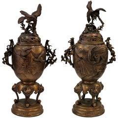 Pair of Japanese Bronze Finish Covered Censors