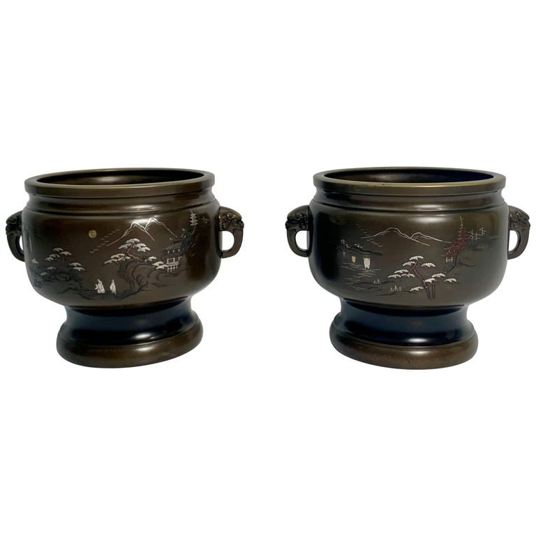 Pair of Japanese Bronze Hibachi with Silver and Copper Inlay, Meiji Period For Sale