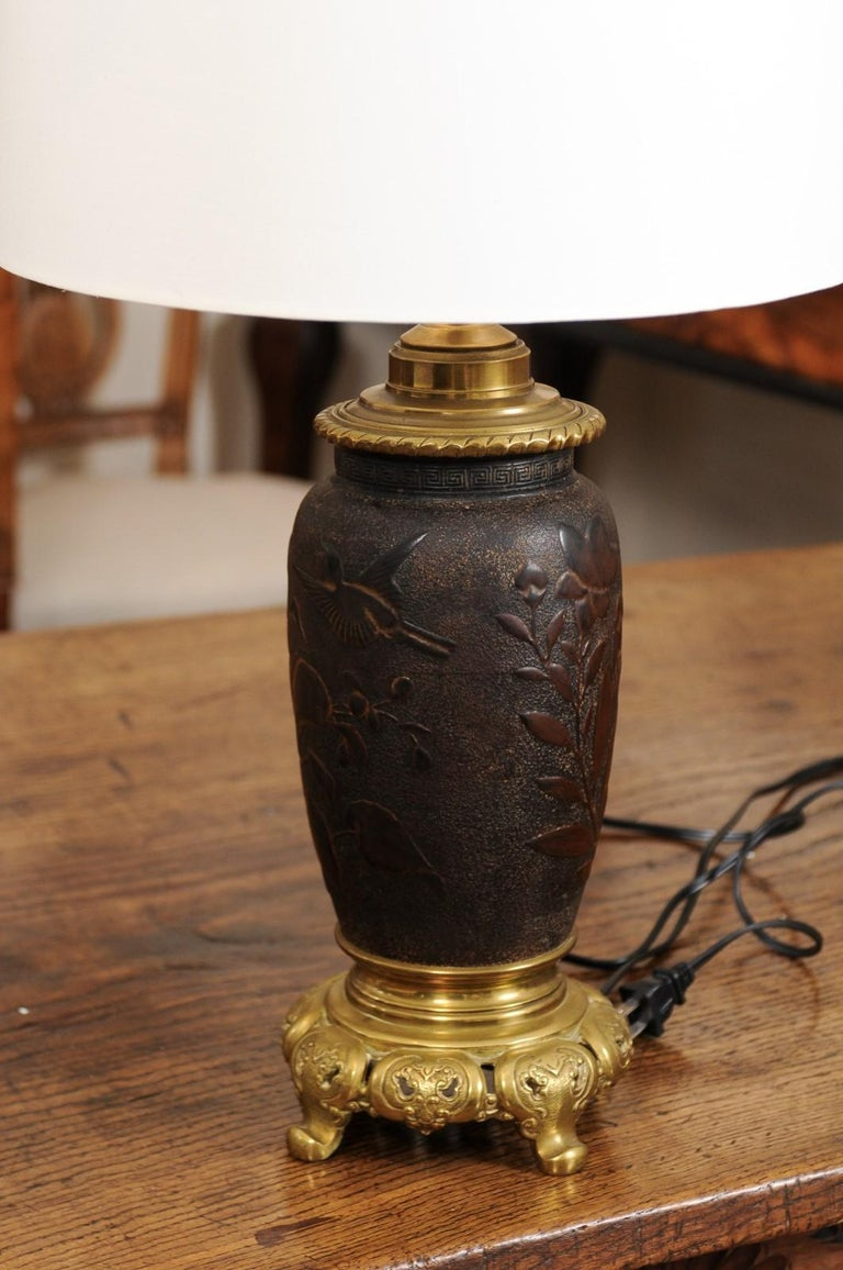 Pair of Japanese Bronze Lamps, Mid-19th Century For Sale 7
