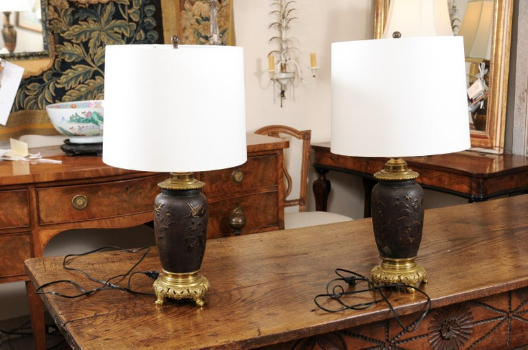 Pair of Japanese Bronze Lamps, Mid-19th Century In Good Condition For Sale In Atlanta, GA