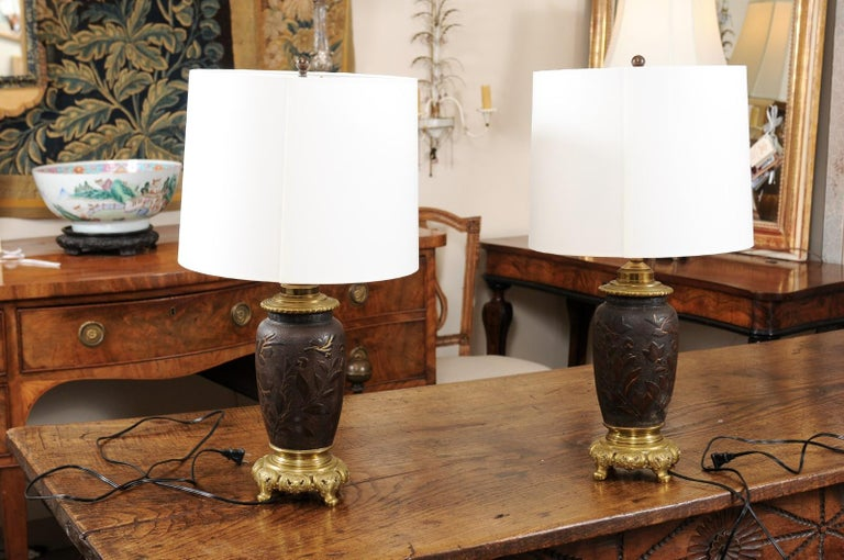 Brass Pair of Japanese Bronze Lamps, Mid-19th Century For Sale