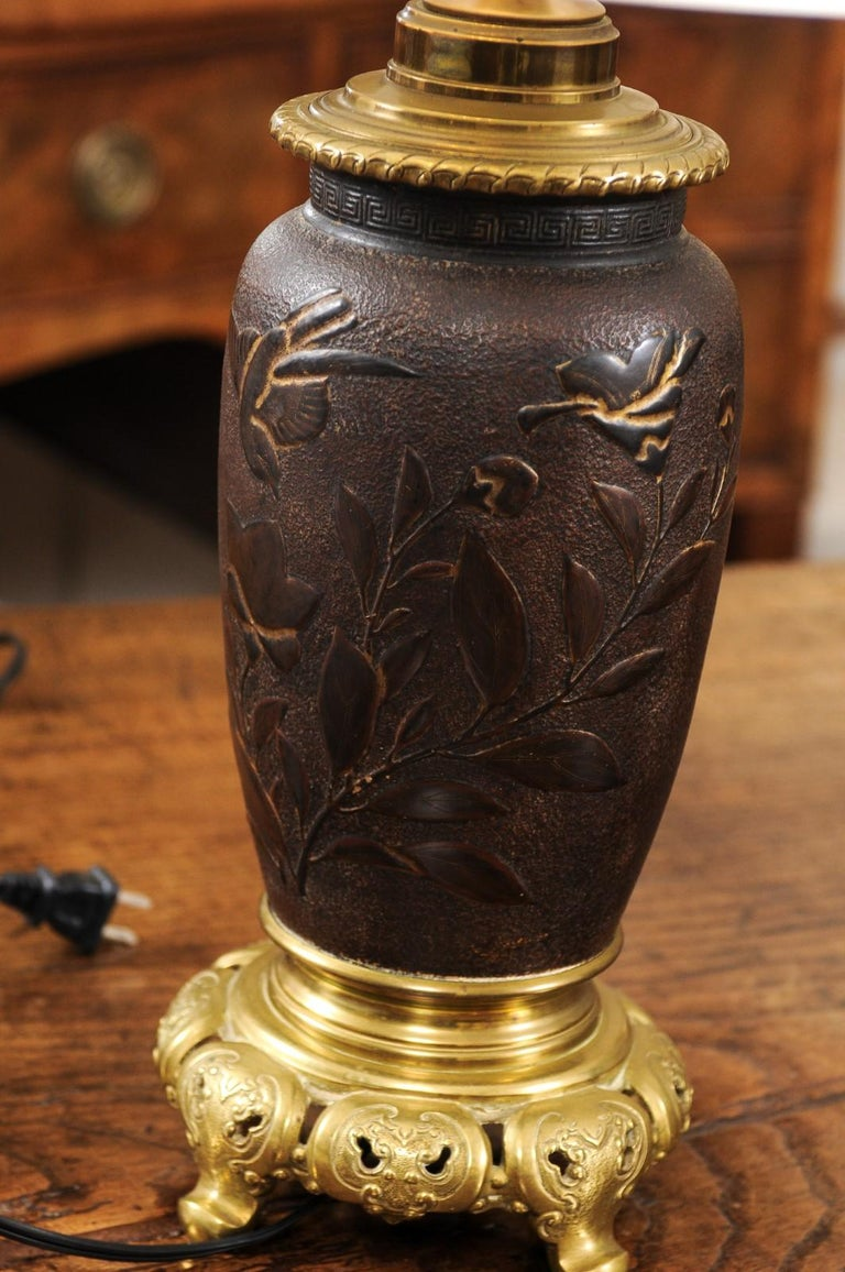 Pair of Japanese Bronze Lamps, Mid-19th Century For Sale 1