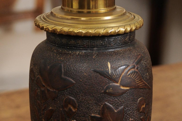 Pair of Japanese Bronze Lamps, Mid-19th Century For Sale 3