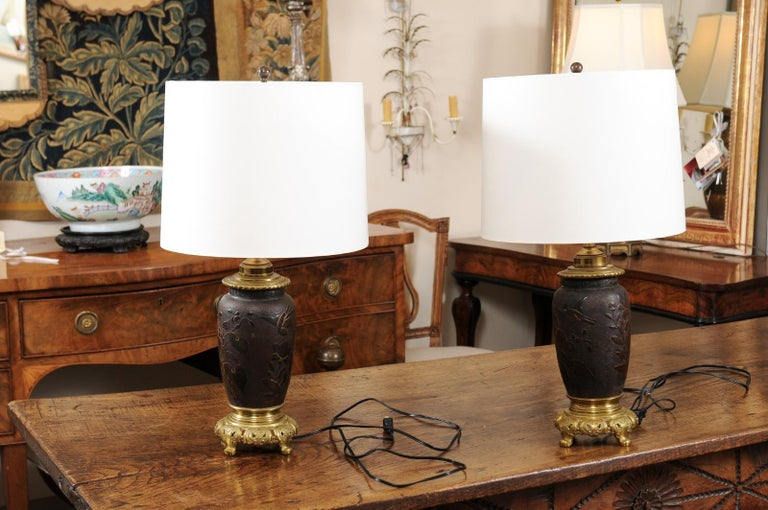 Pair of Japanese Bronze Lamps, Mid-19th Century For Sale 4