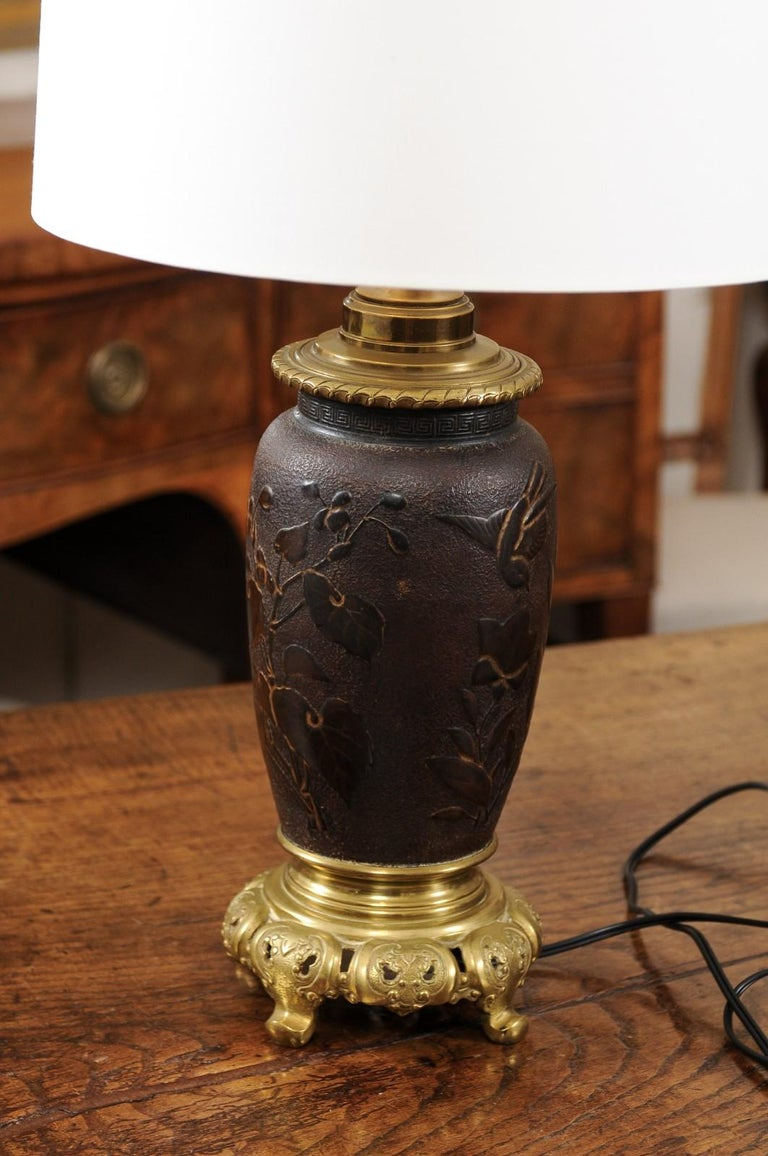 Pair of Japanese Bronze Lamps, Mid-19th Century For Sale 5