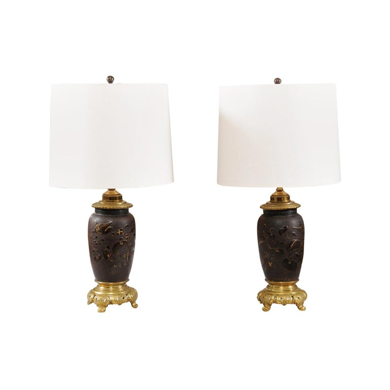 Pair of Japanese Bronze Lamps, Mid-19th Century For Sale