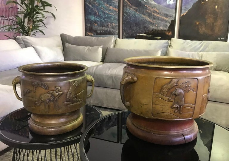 Pair of Japanese Bronze Planters with Animal Deer Crane Forest Decoration Motif For Sale 4