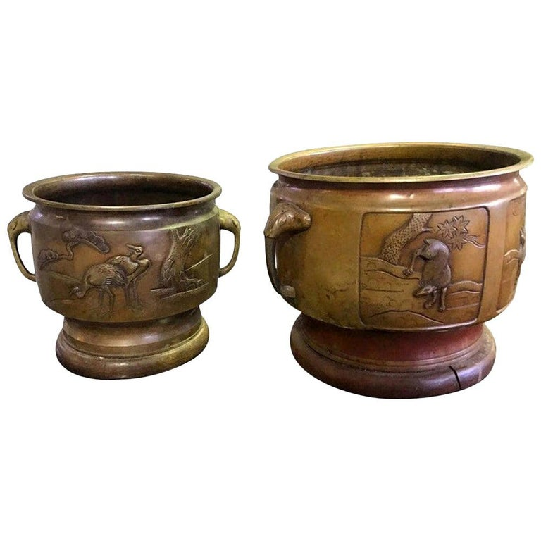 Pair of Japanese Bronze Planters with Animal Deer Crane Forest Decoration Motif For Sale