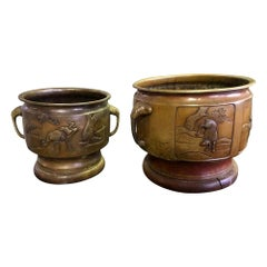 Pair of Japanese Bronze Planters with Animal Deer Crane Forest Decoration Motif