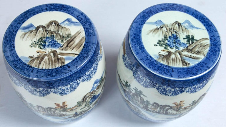 Pair of Japanese Ceramic Garden Stools, Early 20th Century In Good Condition For Sale In Chappaqua, NY