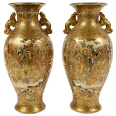 Pair of Japanese Ceramic Satsuma Vases, Last Quarter of the 19th Century
