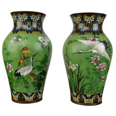 Pair of Japanese Cloisonne Enamel on Copper Vases with Crane Birds and Flowers