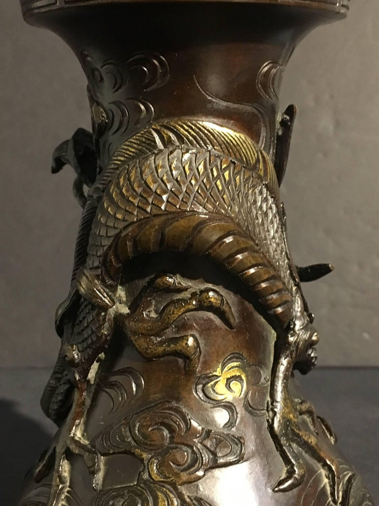 Pair of Japanese Edo Period Parcel-Gilt Bronze Dragon Vases, Early 19th Century For Sale 5