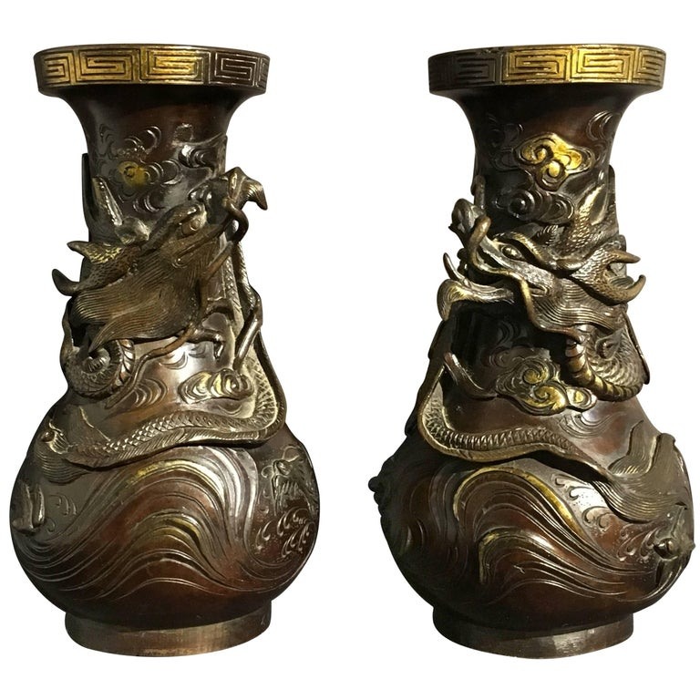 Pair of Japanese Edo Period Parcel-Gilt Bronze Dragon Vases, Early 19th Century For Sale