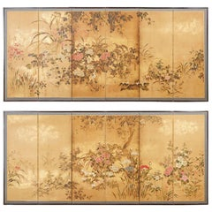 Pair of Japanese Edo Rimpa School Screens after Tawaraya Sosetsu