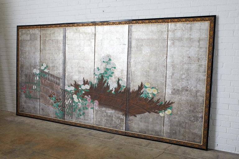 Pair of Japanese Edo Screens Chrysanthemums Along Fence For Sale 7