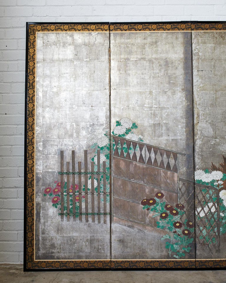 Pair of Japanese Edo Screens Chrysanthemums Along Fence For Sale 8