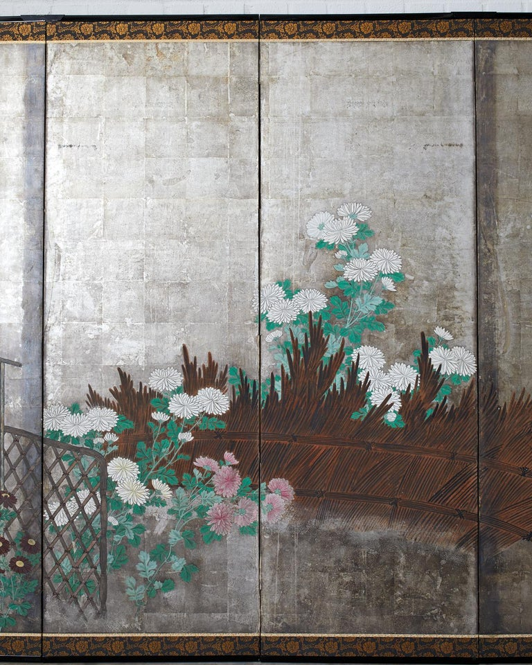 Pair of Japanese Edo Screens Chrysanthemums Along Fence For Sale 9