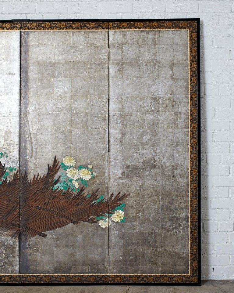 Pair of Japanese Edo Screens Chrysanthemums Along Fence For Sale 10