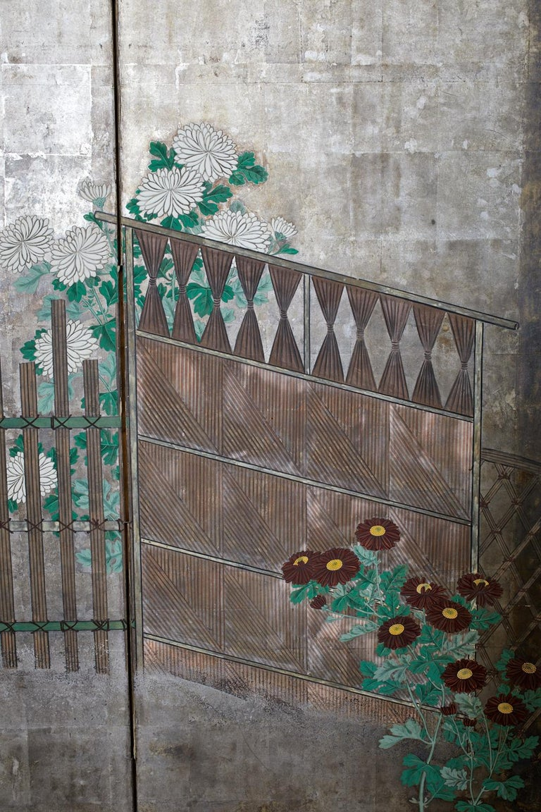 Pair of Japanese Edo Screens Chrysanthemums Along Fence For Sale 11