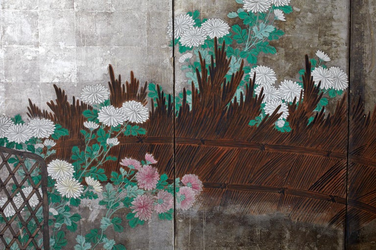 Pair of Japanese Edo Screens Chrysanthemums Along Fence For Sale 12