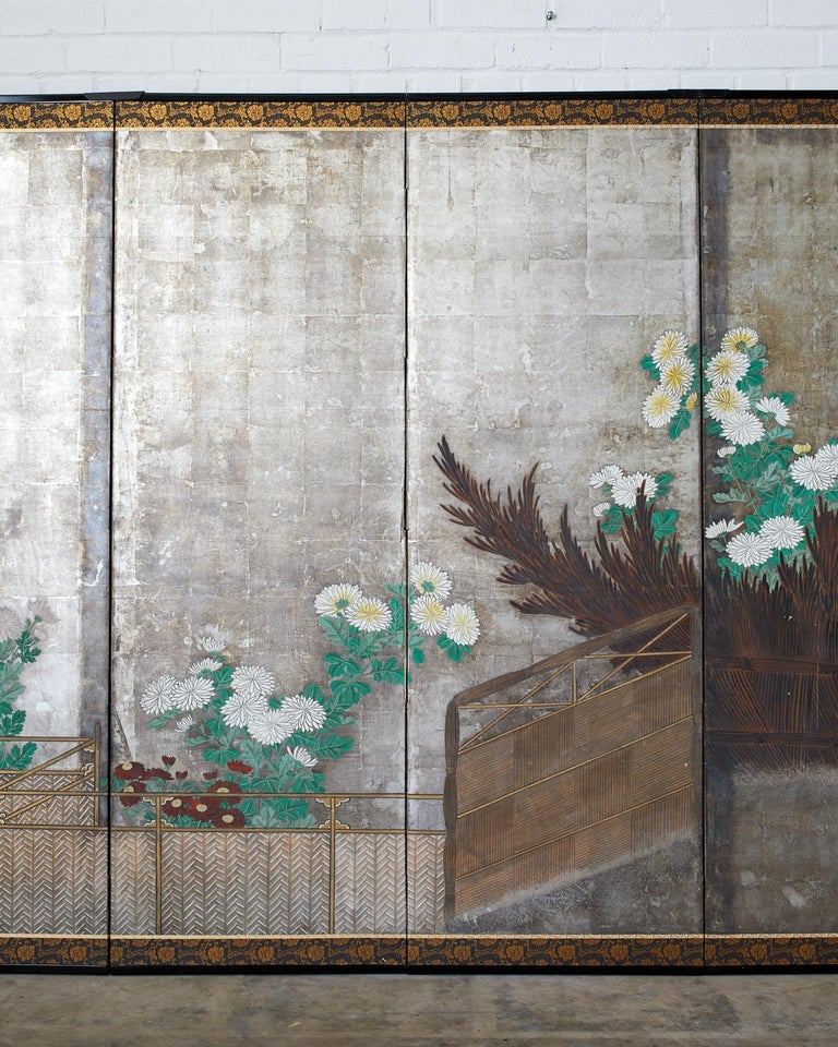 Hand-Crafted Pair of Japanese Edo Screens Chrysanthemums Along Fence For Sale