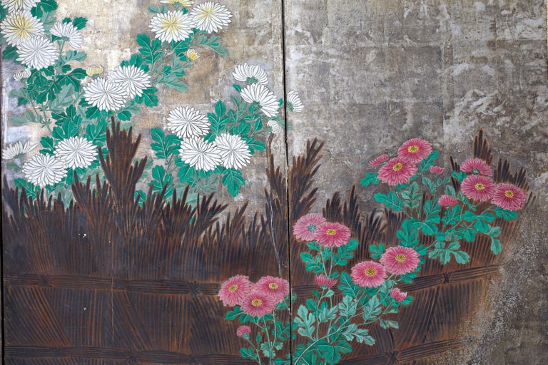 19th Century Pair of Japanese Edo Screens Chrysanthemums Along Fence For Sale