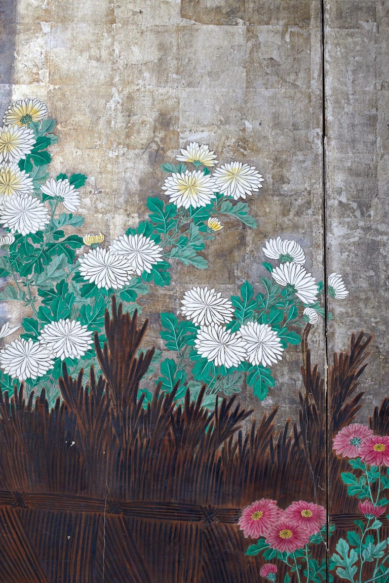 Paper Pair of Japanese Edo Screens Chrysanthemums Along Fence For Sale