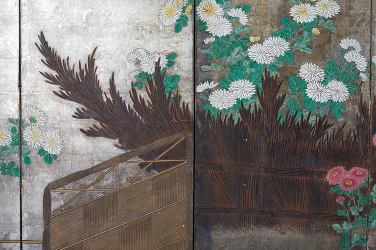Pair of Japanese Edo Screens Chrysanthemums Along Fence For Sale 1