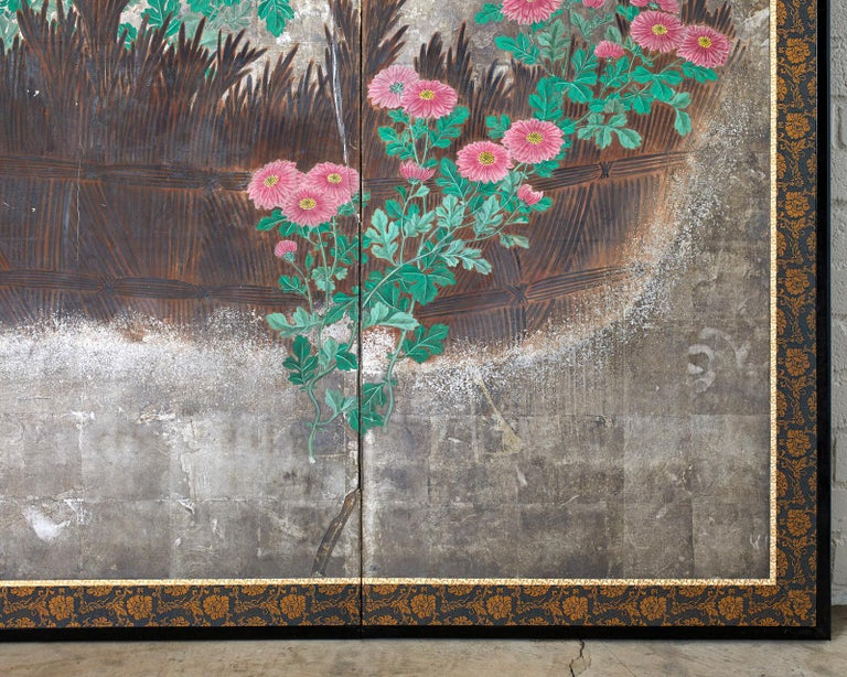 Pair of Japanese Edo Screens Chrysanthemums Along Fence For Sale 2