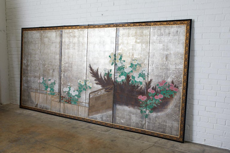 Pair of Japanese Edo Screens Chrysanthemums Along Fence For Sale 3