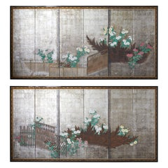 Pair of Japanese Edo Screens Chrysanthemums Along Fence