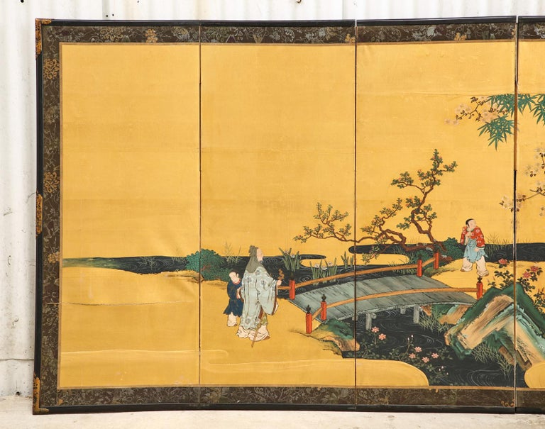 Pair of Japanese Edo Six Panel Screens the Seven Sages For Sale 5