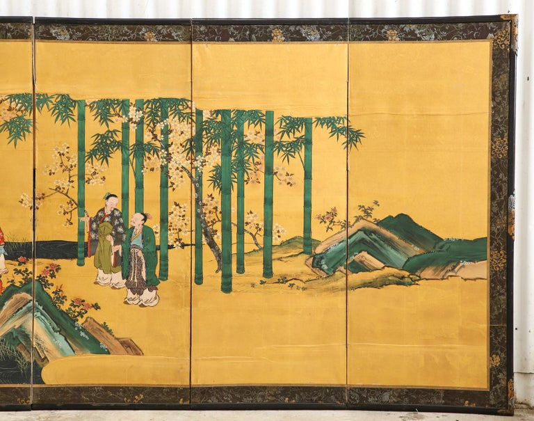 Pair of Japanese Edo Six Panel Screens the Seven Sages For Sale 6