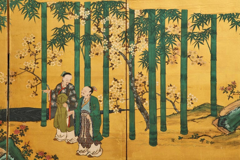 Pair of Japanese Edo Six Panel Screens the Seven Sages For Sale 7