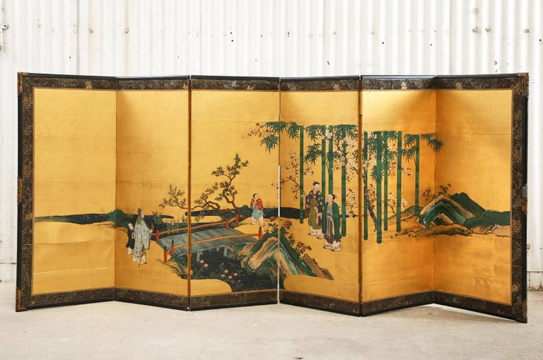 Pair of Japanese Edo Six Panel Screens the Seven Sages For Sale 8
