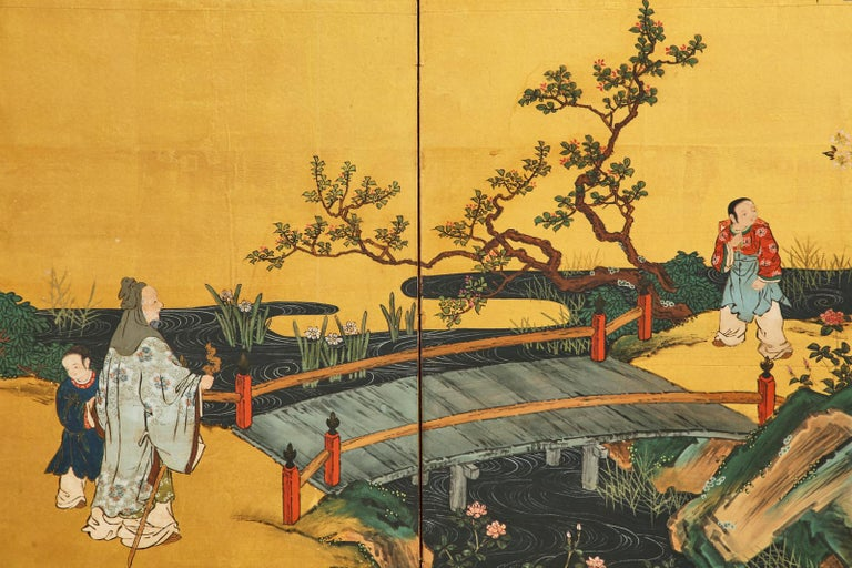 Pair of Japanese Edo Six Panel Screens the Seven Sages For Sale 9