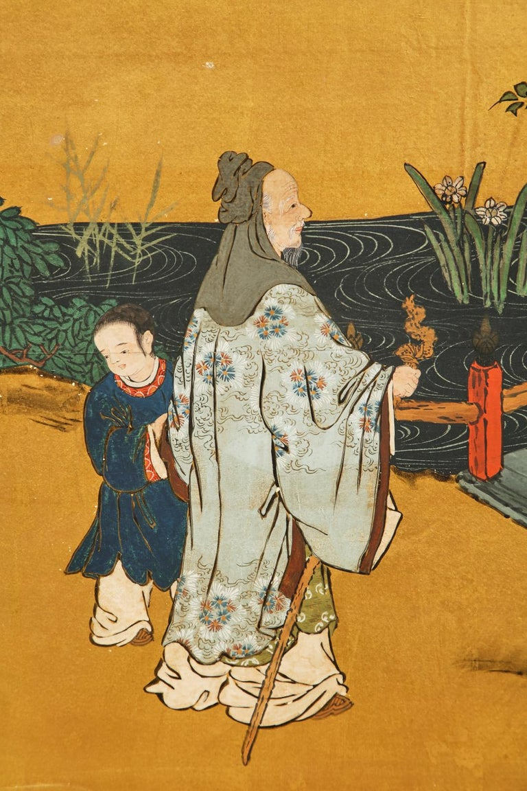 Pair of Japanese Edo Six Panel Screens the Seven Sages For Sale 10