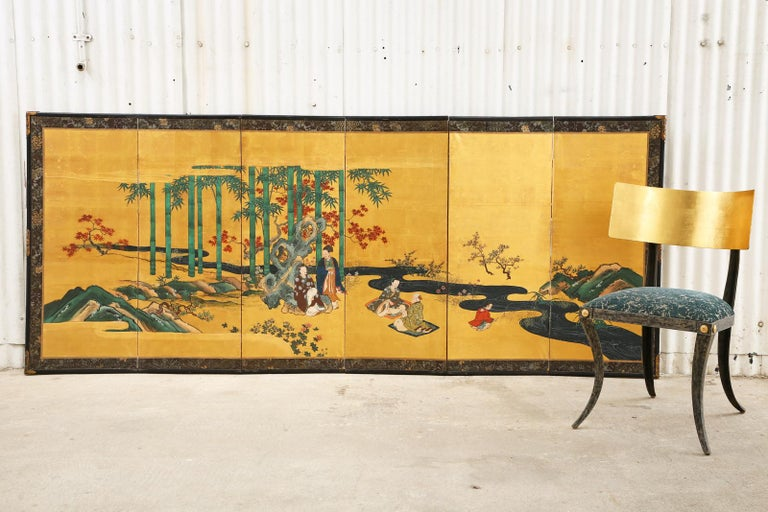 Fantastic pair of 19th century Japanese late Edo/early Meiji period six-panel screens titled The seven sages of the bamboo grove. The Kano school screens depict a group of Daoist Chinese scholars, writers, and musicians from the third century CE.