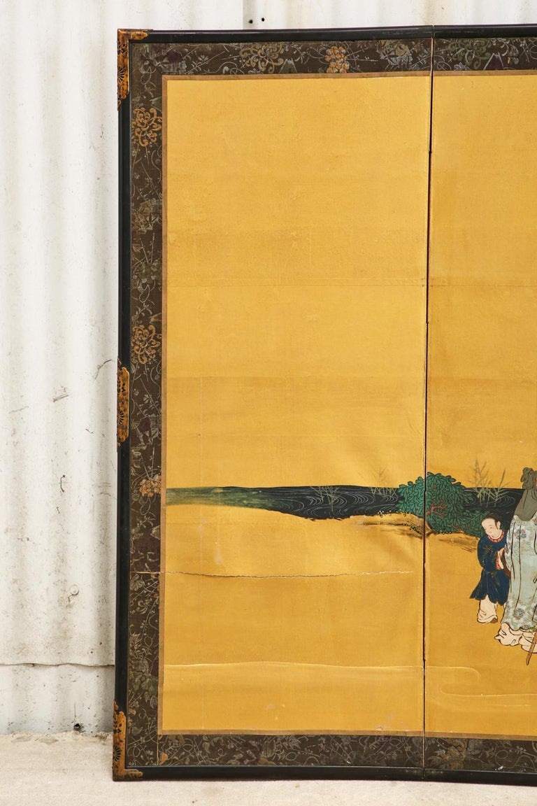 Pair of Japanese Edo Six Panel Screens the Seven Sages For Sale 14