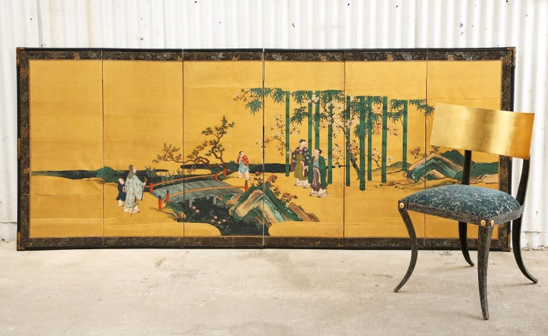 Hand-Crafted Pair of Japanese Edo Six Panel Screens the Seven Sages For Sale