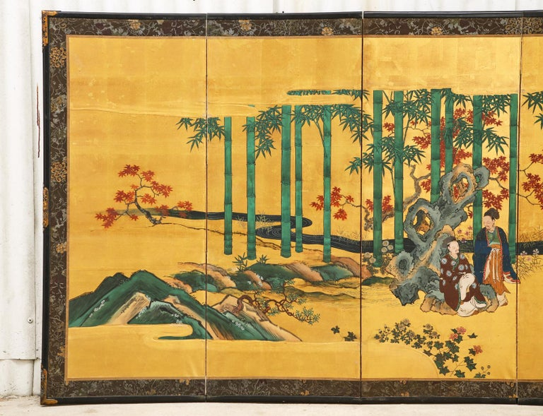 Pair of Japanese Edo Six Panel Screens the Seven Sages In Fair Condition For Sale In Rio Vista, CA