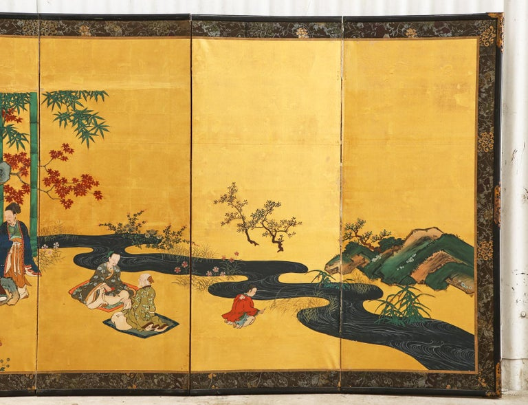 19th Century Pair of Japanese Edo Six Panel Screens the Seven Sages For Sale