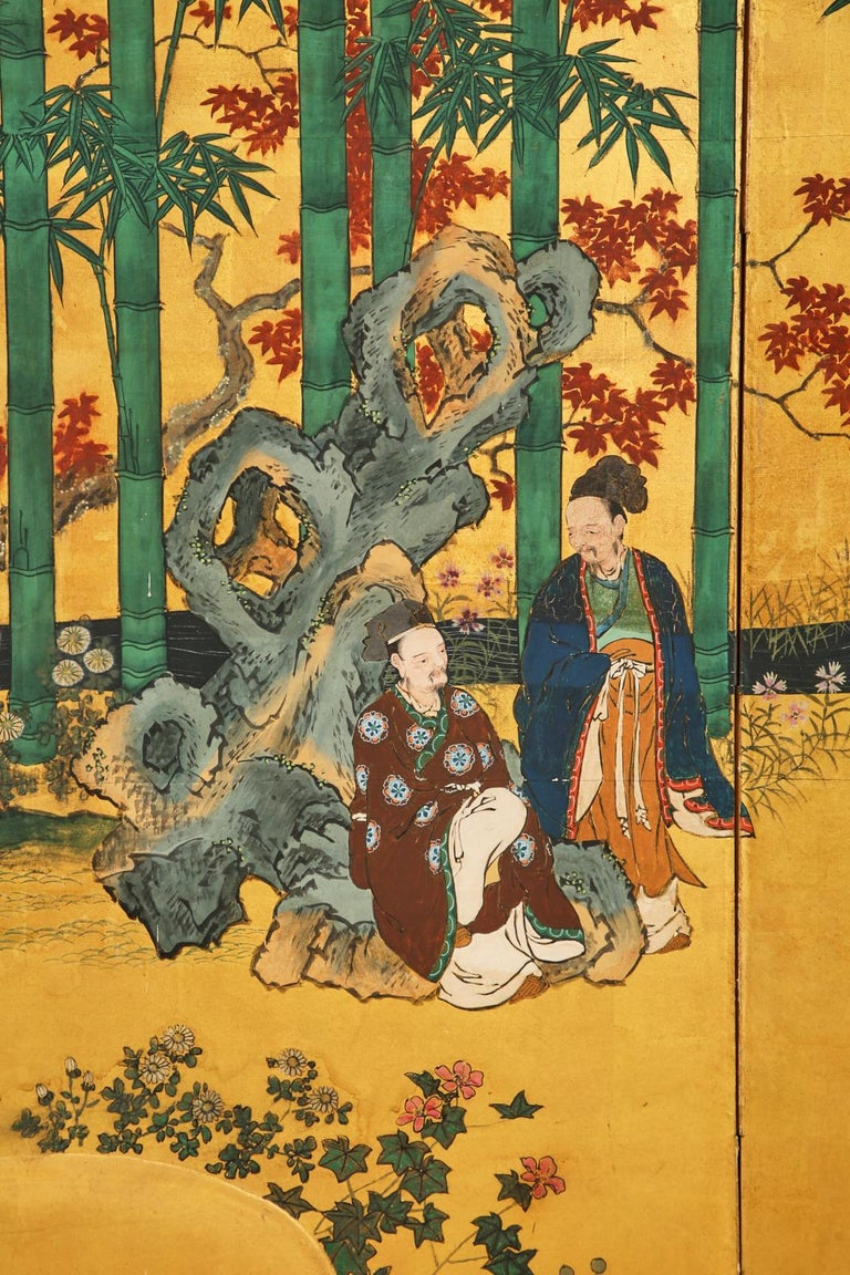 Pair of Japanese Edo Six Panel Screens the Seven Sages For Sale 1